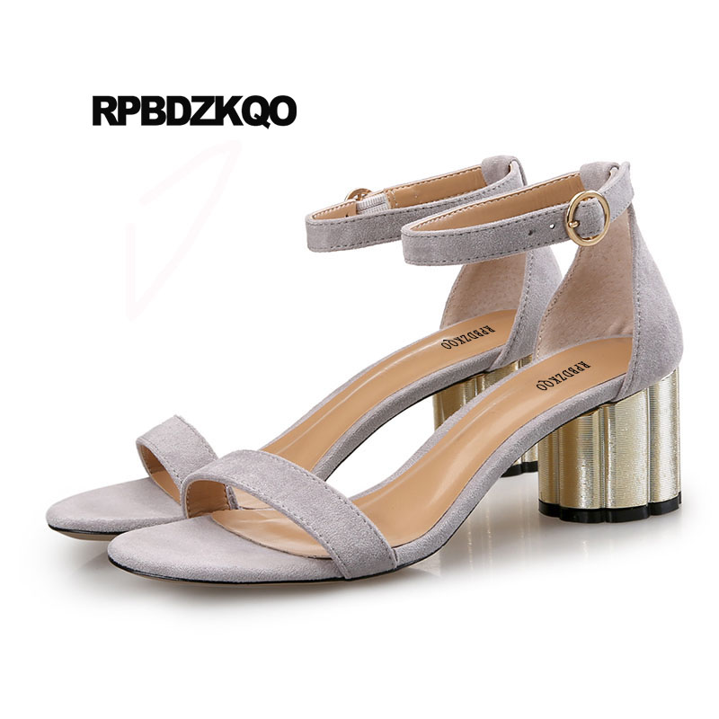 Women Sandals 2018 Summer Korean Chunky Pumps Ankle Strap Designer Ladies Thick Suede Shoes Block Open Toe Fashion High Heels summer new pointed thick chunky high heels closed toe pumps with buckle ankle wraps sweet sandals women pink black gray 34 40