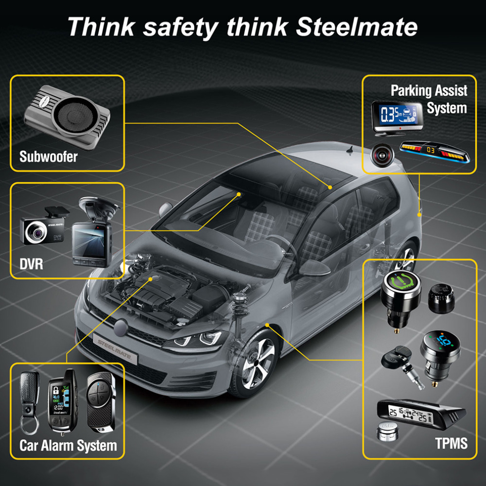 Steelmate 2017 TP-76B Car Tire Pressure Tpms System Monitor Cigarette Lighter Power Alarm Security Wireless Steel Mate Hot