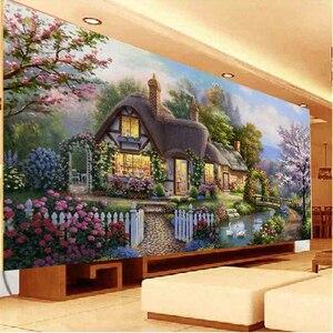 Image 4 - QIANZEHUI peinture paysage, couture bricolage même, point de croix, cabane de jardin rêve, point de croix, ensembles pour kit de broderie