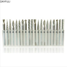 Portable 20pcs Tungsten Steel Solid Carbide Burrs Rotary Tool Drill Bits Set 3*3mm Good 10pcs 1 8 tungsten carbide 3mm drill bits set rotary burrs metal diamond grinding woodworking milling cutters for drill bits