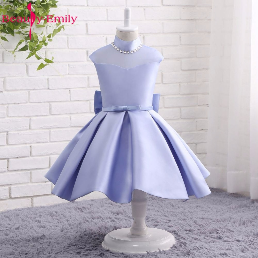 Beauty-Emily Light Purple Stain Bow   Flower     Girl     Dresses   2017 Zipper A-Line Party   Girl     Dress   Lovely Princess   Dresses   Party   Dress