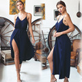New Sexy Women Spaghetti Strap Fashion V-Neck Slit Wide Leg Pant Solid Color Casual Summer Overall OL Vestidos Plus Size CL2977