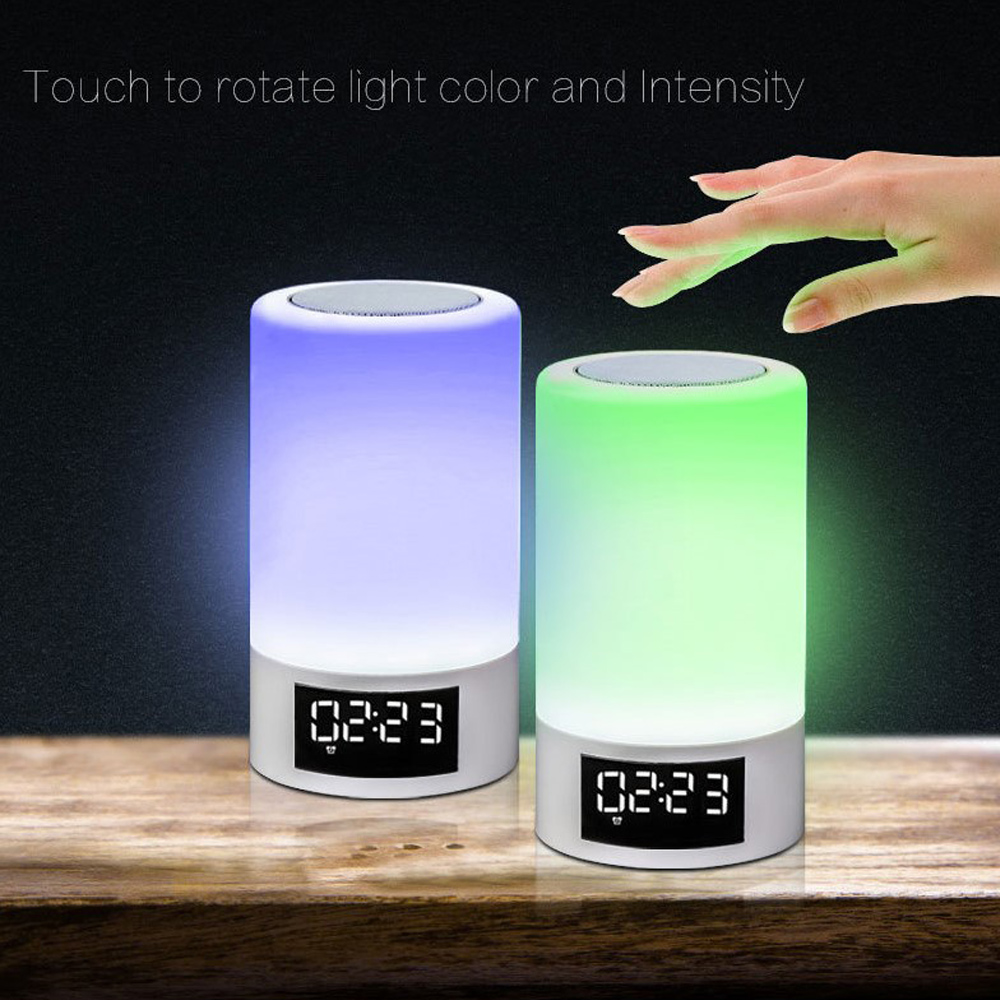 Touched Colorful lighting Bluetooth Speaker Touch Dimming Alarm clock FM Lamp Music Player hands free for desk free shipping