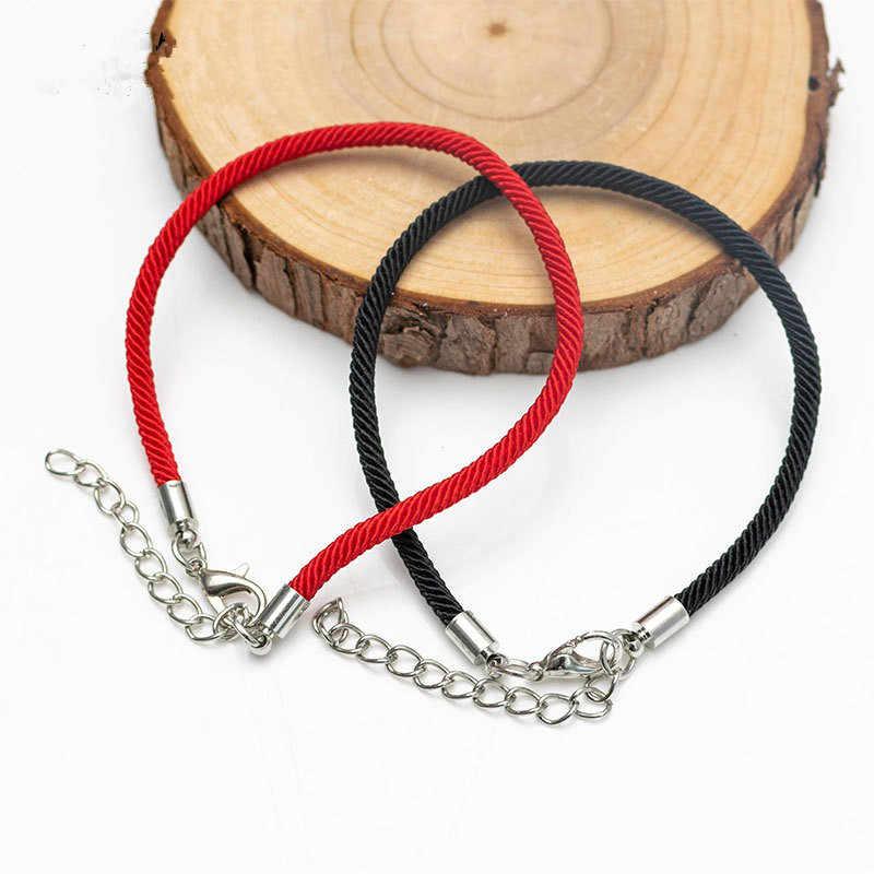 2019 gran oferta 1 Pza pulsera de hilo rojo de la cadena de la suerte Rojo Negro pulsera de cuerda hecha a mano para Mujeres Hombres pareja amante de la joyería