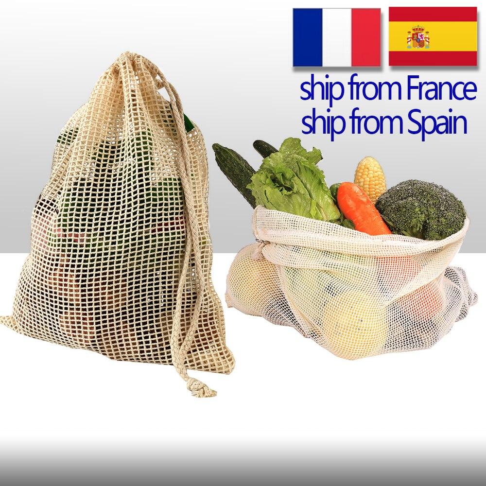 Cotton Vegetable Bags for Home Kitchen Storage Reusable Produce Mesh Fruit Bag eco friendly Organization