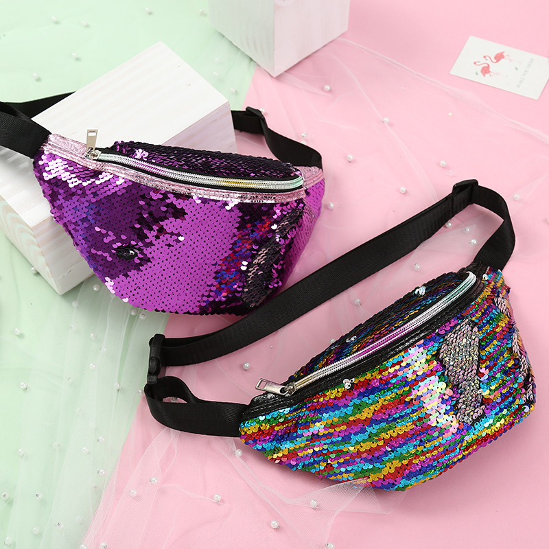 Sequins Waist Bags Women Belt Bags Fanny Packs Bum Bag Phone Zipper Waist Pouch 2019 New