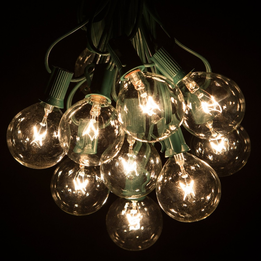 100ft globe string lights g50 100 clear globe bulbs 220110v black wireul listed indoor outdoor patio string lightextendable in lighting strings from