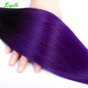 Предварительно окрашенные человеческие волосы ed Ombre бразильские прямые волосы плетение 4 пряди 2 тона 1B фиолетовый цвет Омбре не-Remy волосы д...
