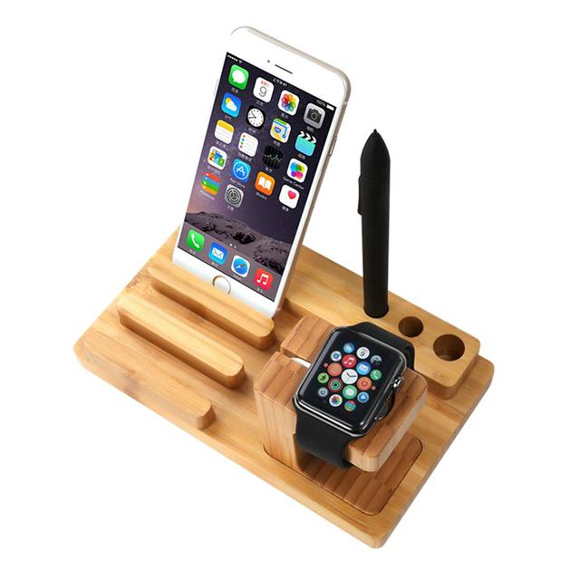 Base de carga soporte para teléfono para iphone 7 6 floveme 6 s plus 5 5S sí soporte del teléfono del sostenedor del soporte para apple watch soporte stents madera