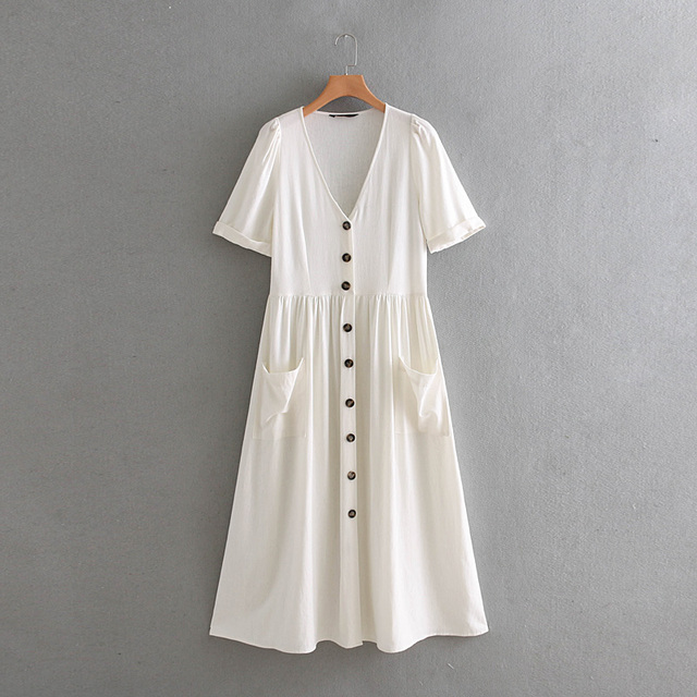 be993dbade7 US $21.65 35% OFF|Summer button white linen dress women v neck short sleeve  beach dress 2018 casual with pocket work office midi dress vestidos-in ...