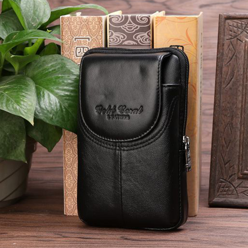 Genuine Leather Men's Waist Pack For 5-6 Inch Mobile Cell Phone Case Bags Purse Pouch Loop Belt Hip Bum Hook Fanny Bags Wallets