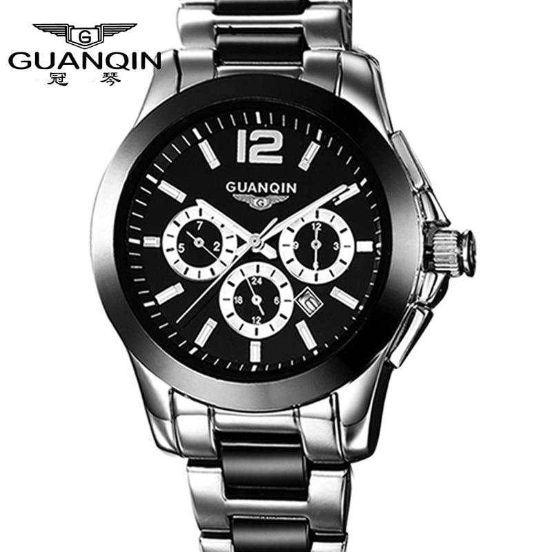 GUANQIN Sport watches 6 Hands Date Day 24 Hours Display waterproof Stainless Steel Case Black Wrist Men's Sport Quartz Watch все цены