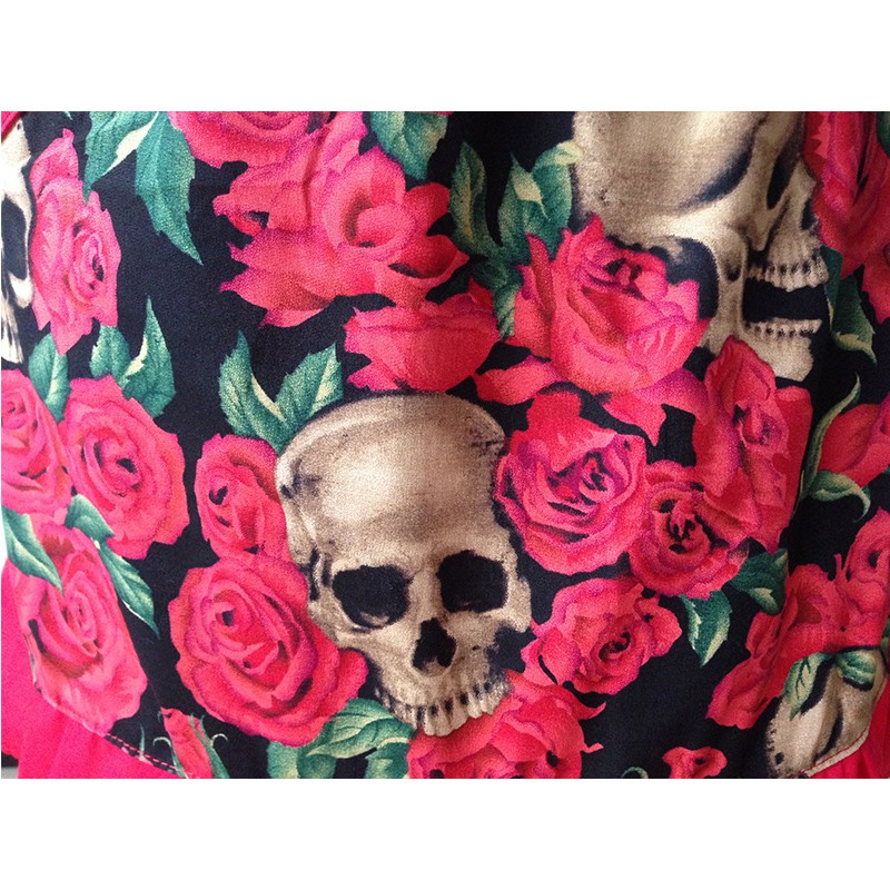 Skull Red Rose Retro Kitchen Apron
