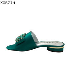 Summer Shoes Flat Sandals Women 2019 Brand Designer Rhinestone Luxury Woman Slippers Green Same Italian