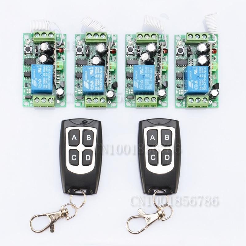 DC12V  1CH Remote Control Switches Lighting LED Lamp ON OFF Remote Controller 4Receiver 2Transmitter 315/433 Learn Code built in remote on off control and remote sense function scn 800 12 220v 12v transformer led