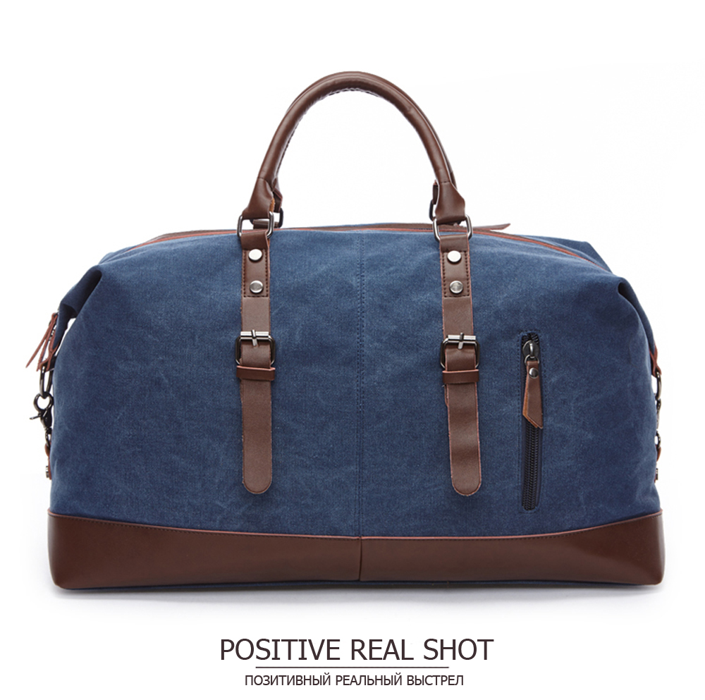 canvas duffle in blue navy