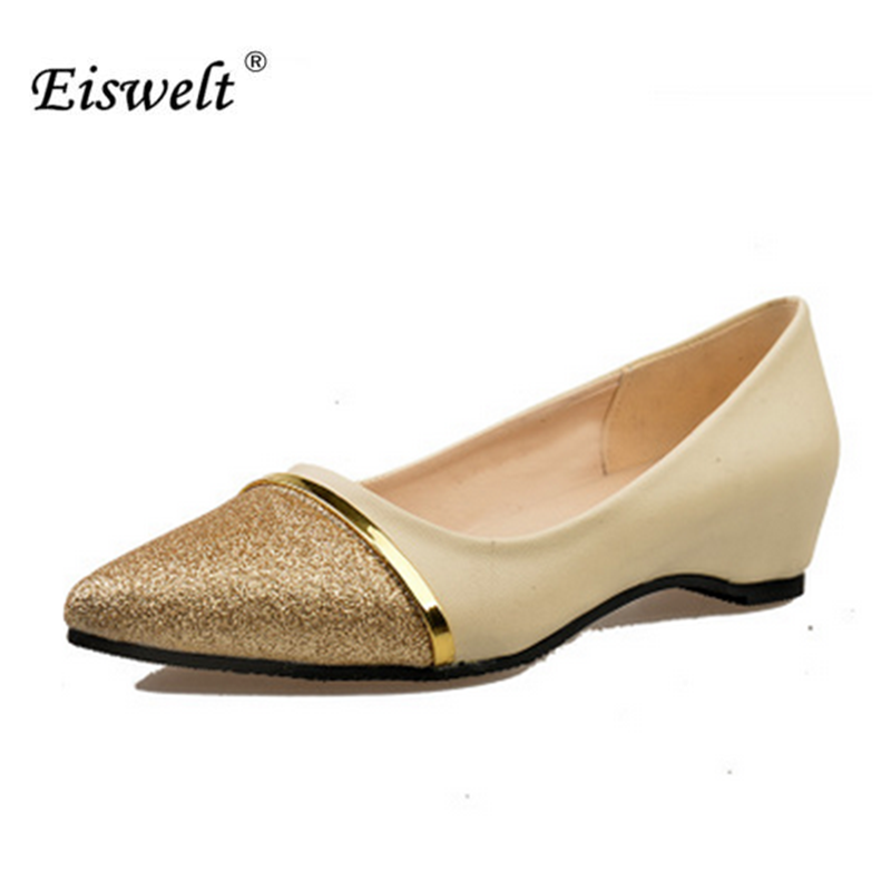 EISWELT 2017Spring Autumn Women Shoes Pointed Toe Slip-On Flat Shoes Woman Comfortable Casual Fashion Comfort#ELQ6 spring autumn women loafer pointed toe pearl comfortable women flats shoes slip on fashion pu leather women s flat with shoes
