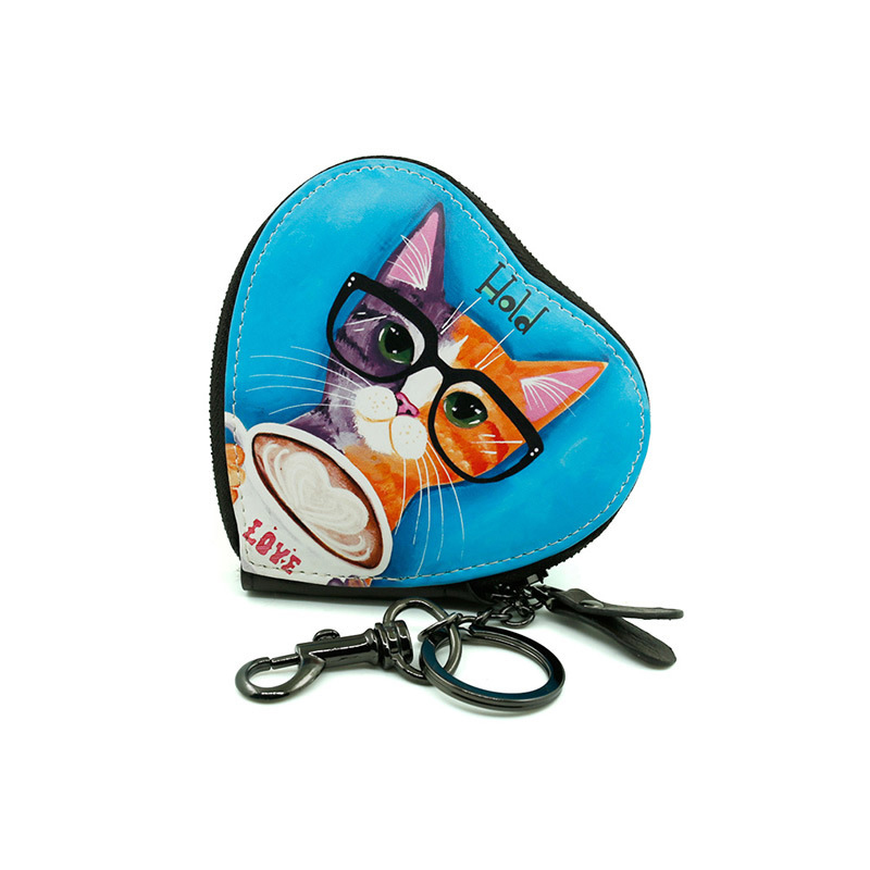 Lovely Cartoon Animal Cat Print Cute Coin Purse For Women Zipper Design Vintage Girlss Small Change Purses