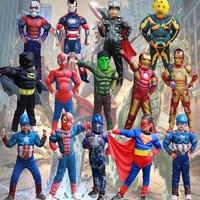 Marvel DC Superhero Iron Spider Batman 2pcs Kids Costume Avengers Child Cosplay Halloween Costumes Kids Boy
