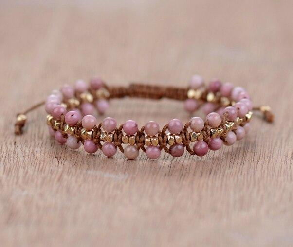 Unique Rhodonite Gold Beads Weaved Bracelets Ossobuzz