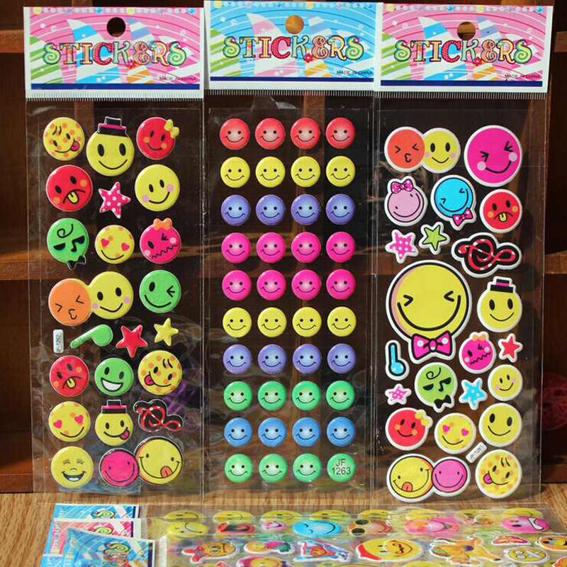 50Pcs/Lots DIY Fashion Brand Kids Toys Cartoon Emoji Smile face Expression 3D Stickers Children PVC Stickers Bubble Stickers