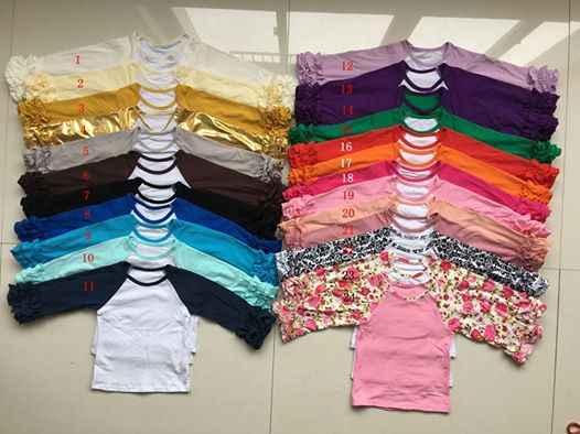 卸売バルク DIY ブランクフリル袖口スリーブラグラン Tシャツ女の子モノグラムフリル袖ラグランシャツ固体フリルアイシングシャツ