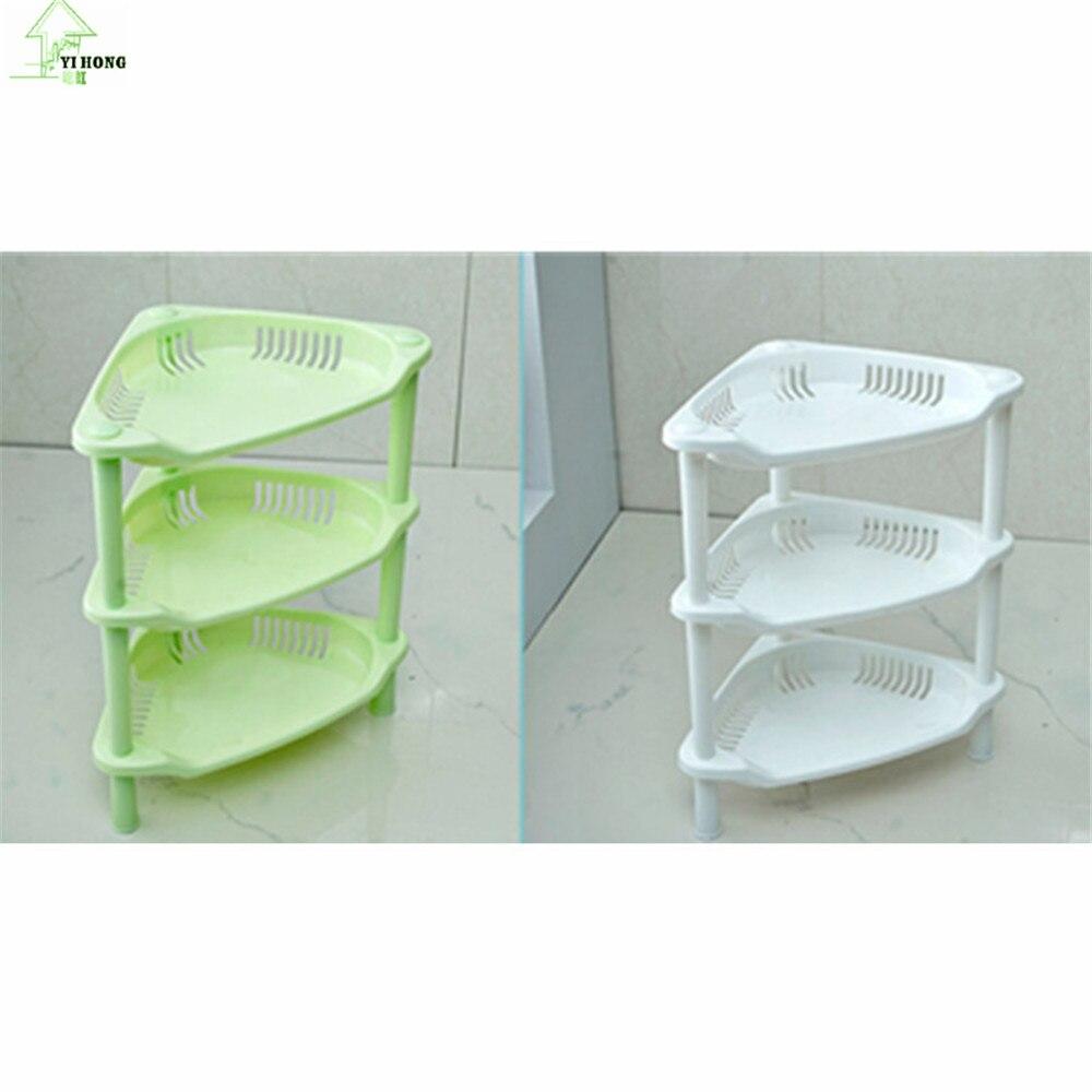 YI HONG 3 Layer Bathroom Storage Shelf Triangular Multi purpose Mini ...