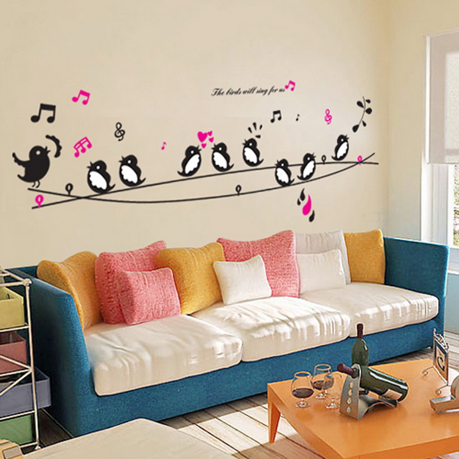 Cartoon Singing Swallow Bird Wall Stickers Livingroom Kid\'s Room ...