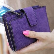 PU leather minimalist vintage short women wallet Multi card bit small purse korean bank id credit clutch coin pocket sale