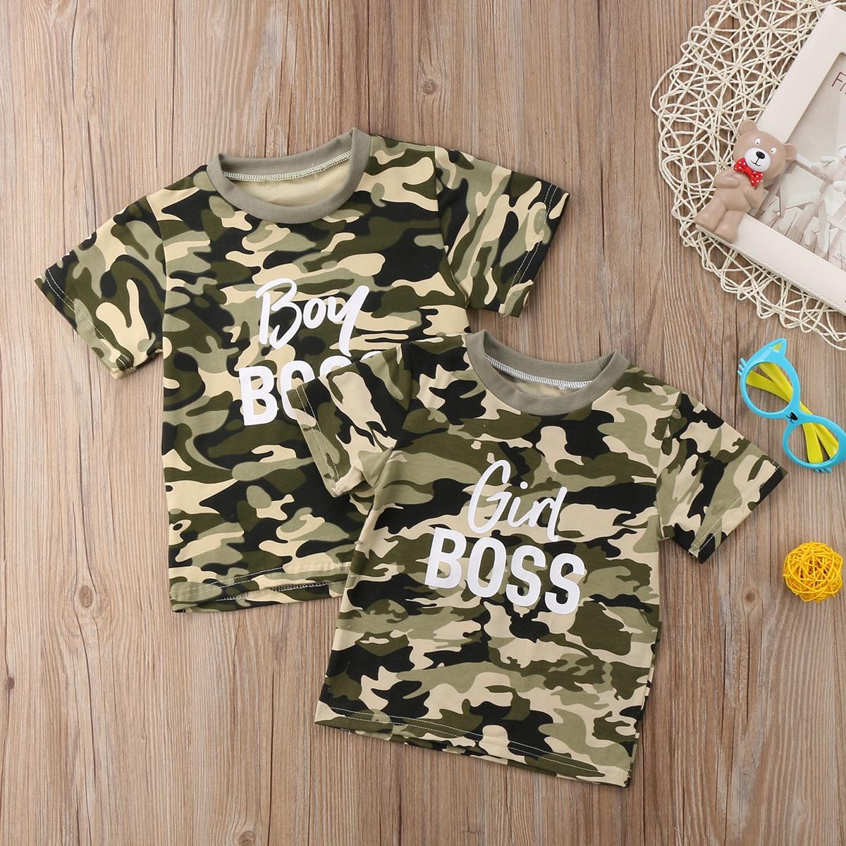 Camouflage T-shirt Ragazza/ragazzo Boss Ragazzi Neonato Vestiti Delle Ragazze Del Cotone Del Pagliaccetto Tutina Tops T Shirt Tee Outfits Nuove Varietà Sono Introdotte Una Dopo L'Altra