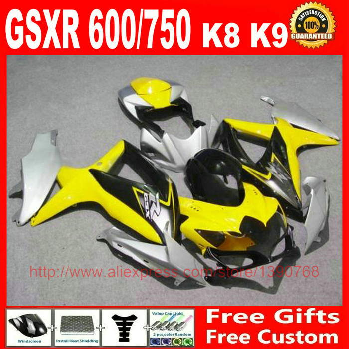 Fairing kit for Suzuki GSXR 600 GSXR 750 2008 2009 2010 yellow silver black bodywork fairings set K8 08 09 10 GSX R 600 750 BM55