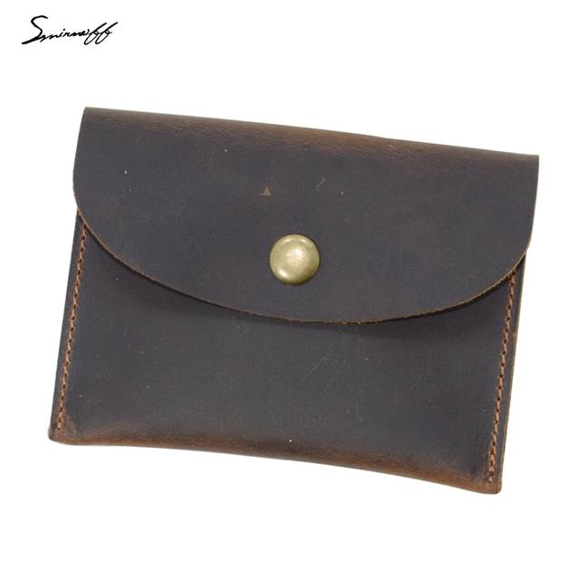 7c8657670549d placeholder SMIRNOFF Handmade Genuine Leather Men Smart Coin Wallet Small  Purse Bag Leather Wallet Retro Crazy Horse