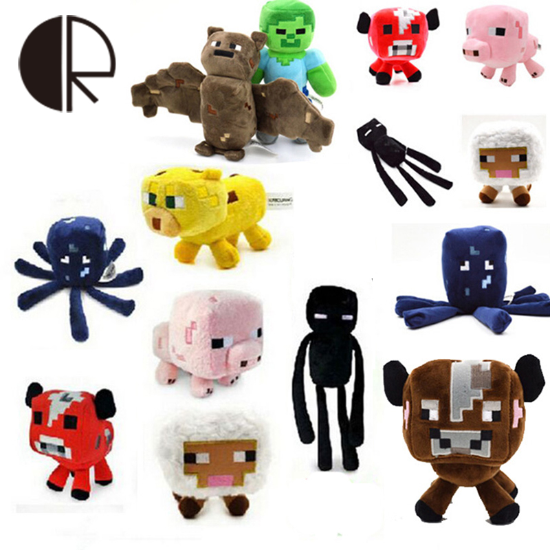 High Quality soft minecraft My world Coolie Creeper JJ Ender Baby Pig Plush Toys 16-26cm Stuffed PP Cotton Baby Kids Toy HT2615