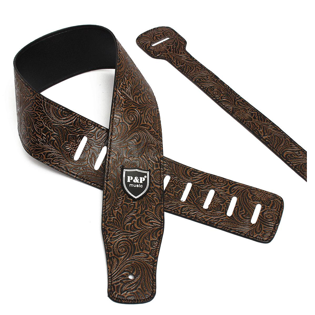 P&P PU Leather Strap for Electric Acoustic Guitar Embossed Adjustable brown