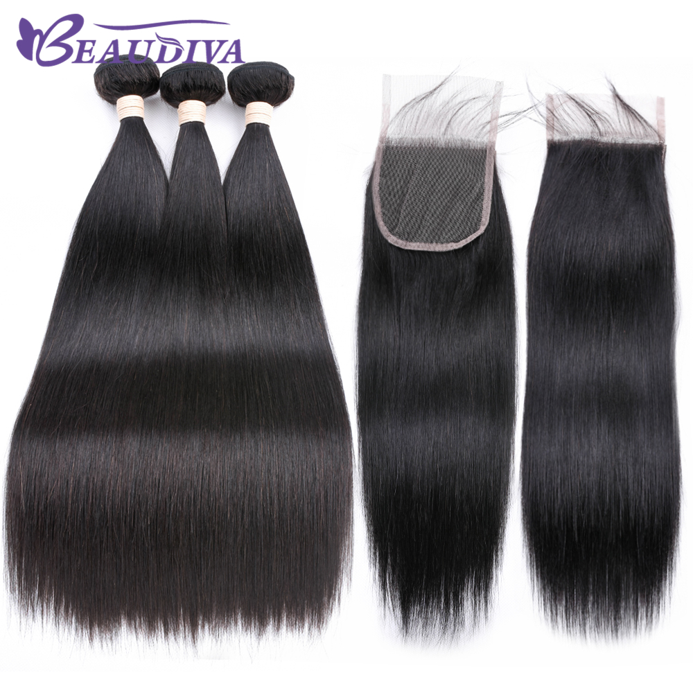 Beaudiva Brazilian Hair weave Straight Natural Color Hair 100 Human Hair Bundles With Closure Non remy