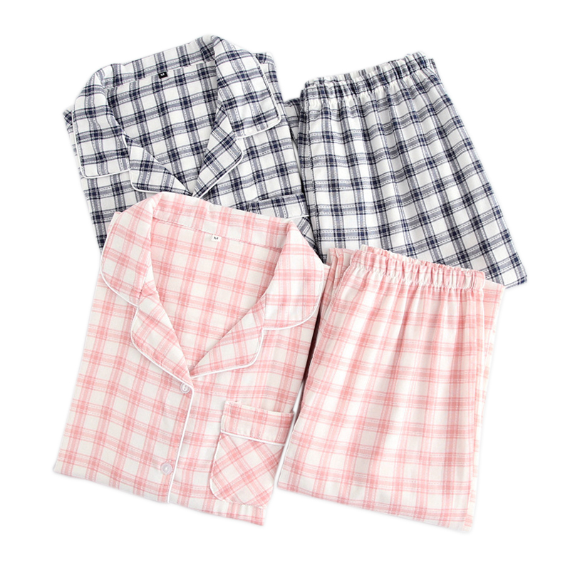 Fresh Plaid  Gauze Cotton Lovers Pajama Sets Women Spring Long Sleeve Casual Sleepwear Men Pyjamas Femme