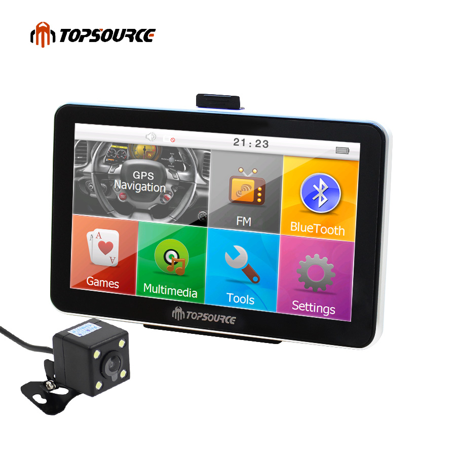 7 Portable Bluetooth Russian Spain Vehicle Car GPS Navigation Truck gps Navigator 800MHZ 256M 8G Europe Usa France Uk Navitel topsource 7 spian android car gps navigation europe usa uk truck gps navigator wifi 512m 16gb russian gps map for navitel