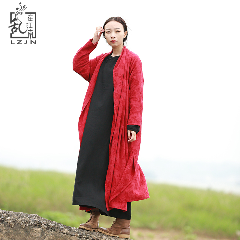 LZJN Leaves   Trench   Coat For Women Cardigan 2019 Spring Long Coats Ethnic 3/4 Sleeve Black Windbreaker All Match Duster Coat 1872