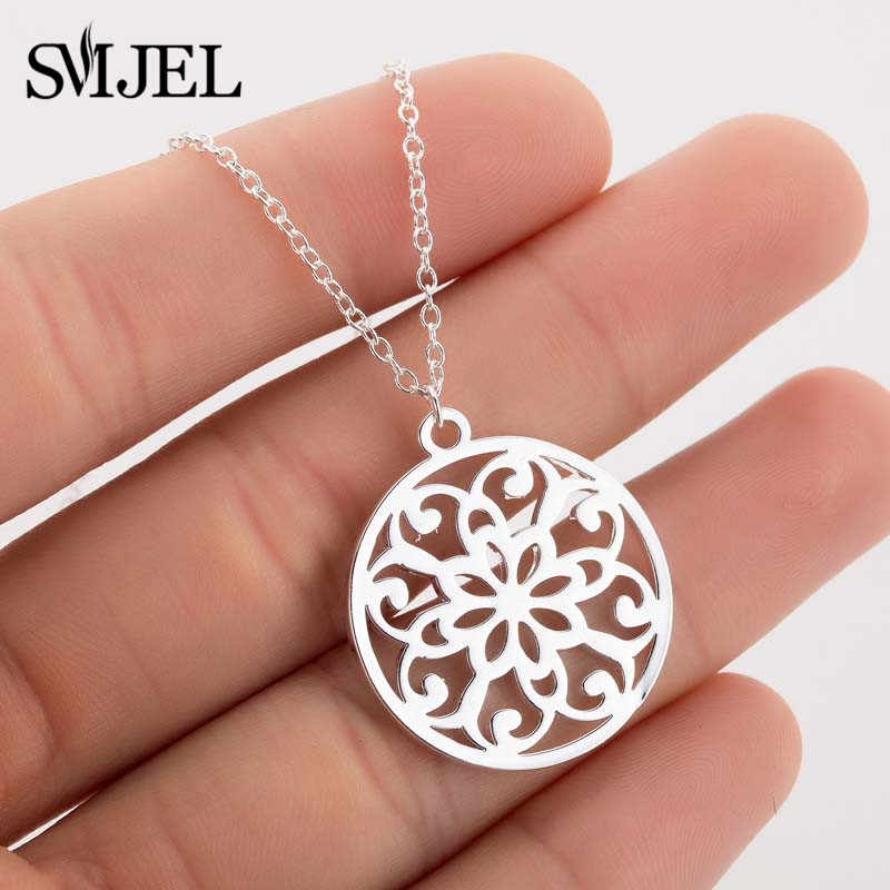 SMJEL Stainless Stainless Steel Mandala Necklaces Women Vintage Flower of Life Necklace Yoga Chakra Fashion Geometry Jewelry