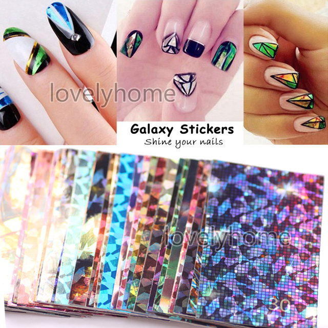Latest Galaxy Star Glitter Shining Adhesive Stickers Nail Art Glass Laser Self-Adhensive Manicure Tips DIY