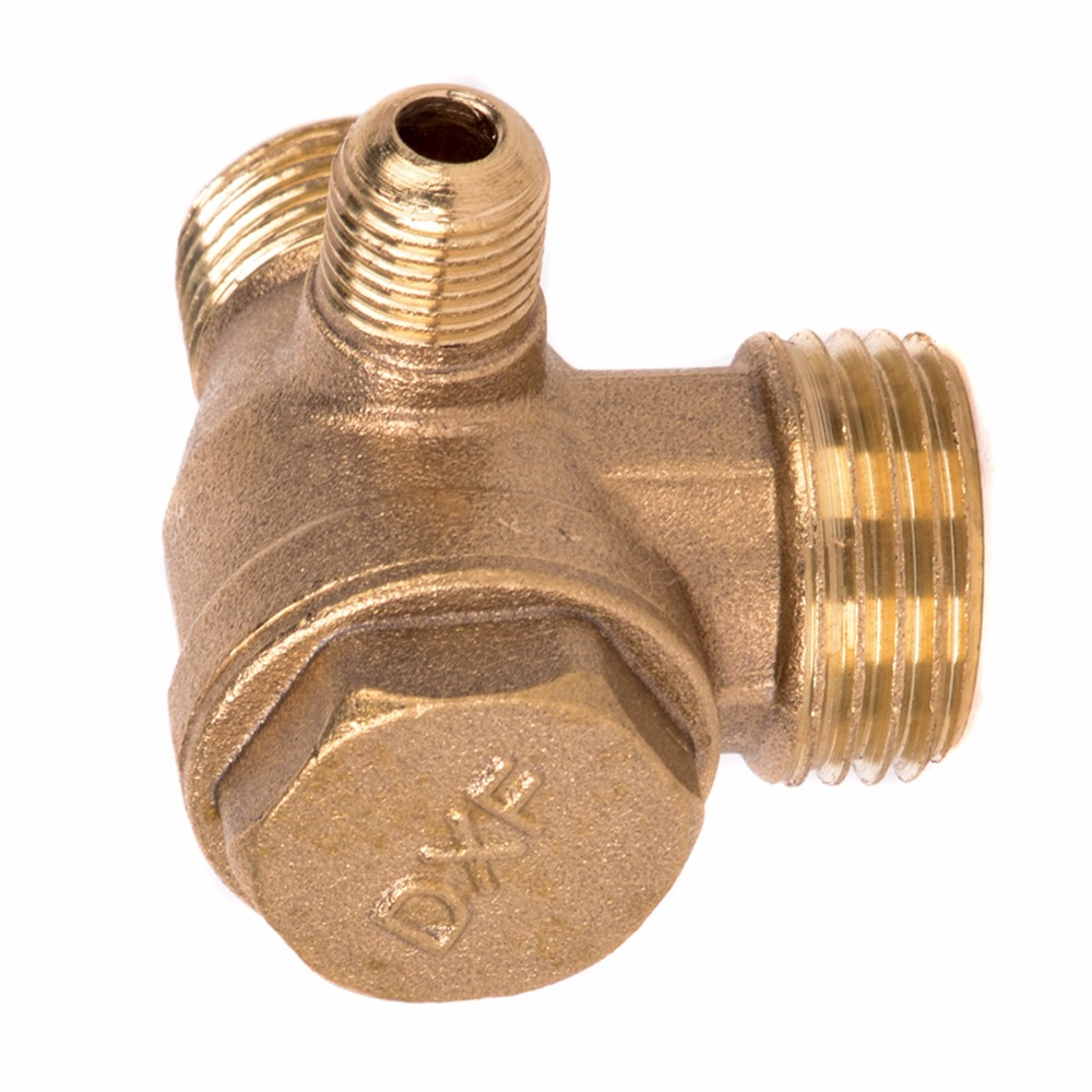 1pc New 3 Port Check Valve Brass Male Thread Check Valve Connector Tool For Air Compressor 2