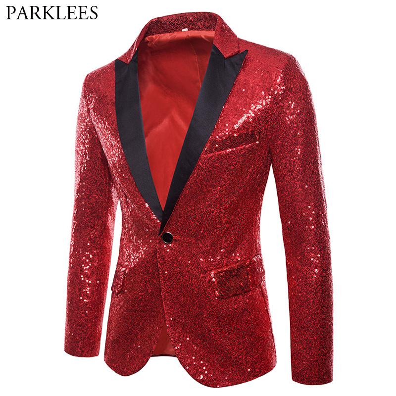 Shiny Red Sequin Blazer Jacket Men 2018 Brand New Slim Fit One Button Dress Blazers Men Prom Wedding Party Suit Jacket For Men