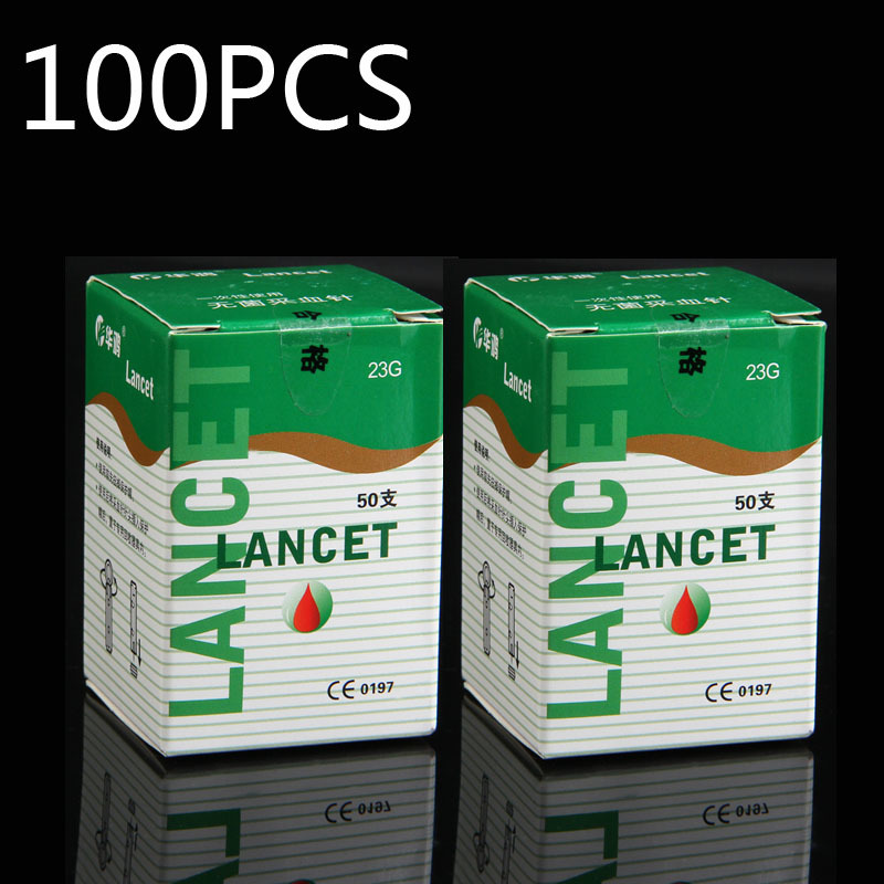 100 pcs 23G 26G 28G to choose Lancets Sterile disposable phlebotomy spilled blood needle pen free shipping one time collector sterile phlebotomy collection needle 50 28g blood glucose injection security lock cassette