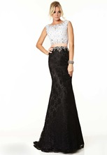 Neue Elegante Bodenlangen Zweiteilige U-ausschnitt Abendkleid Lange Backless Abend-formale Kleid Kristalle F1094