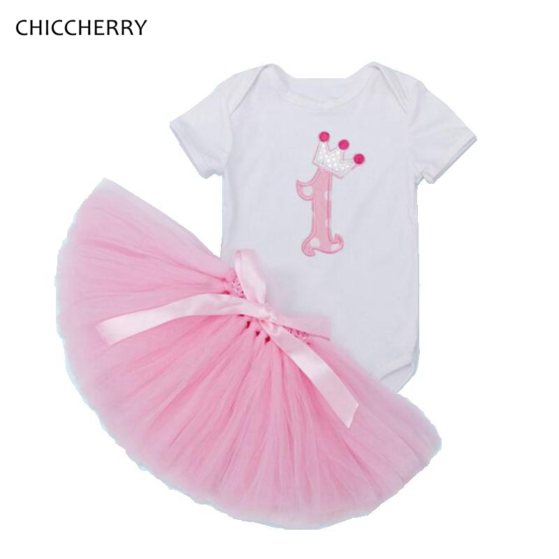 Cute Toddler Girl Clothes Pink 1 Year Birthday Tutu Outifits Crown Infant Bodysuit Lace Tutu Skirt Set Ropa Bebe Child Jumpsuit