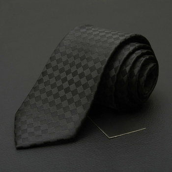 NEW Black White Plaid Ties for Men 7cm Fashion Brand Neck Tie Business Tie for Suit Profession Interview Office Necktie Gift BOX