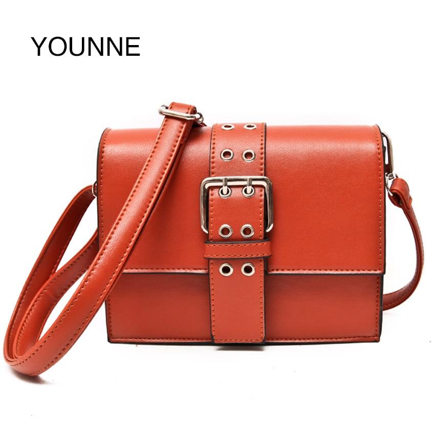 YOUNNE Vintage PU Leather Women Bag Fashion Lock Small Women Messenger Bag Single Strap Shoulder Bag Crossbody Bags