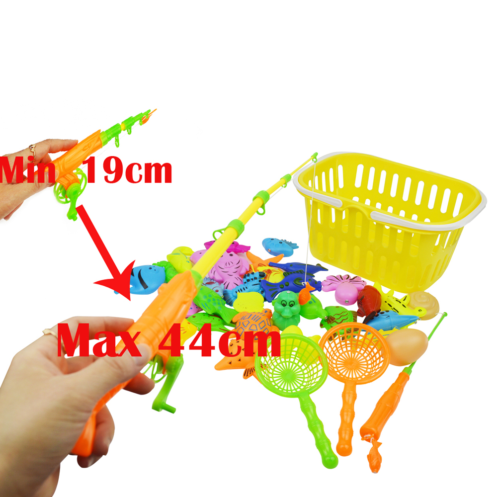 Magnetic Fishing Inflatable Pool Games Pretend Set Various Fishes Water Bathing Toys for Children Kids Toddler Baby 35Pcs Lot