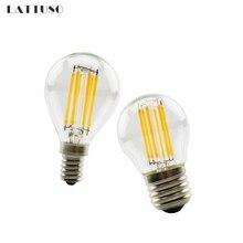 LATTUSO Retro LED Filament Light lamp E27 E14 2W 4W 6W 220V G45 Clear Glass shell vintage edison led bulb for Free shipping