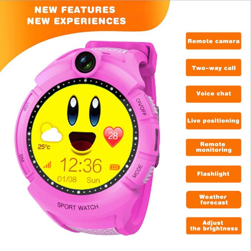Enfant Intelligent Montre GPS pour les Enfants Filles Caméra GPS Positionnement lampe de Poche SOS Appel Anti-perte de Sécurité pour Enfants Écran Tactile Smartwatch